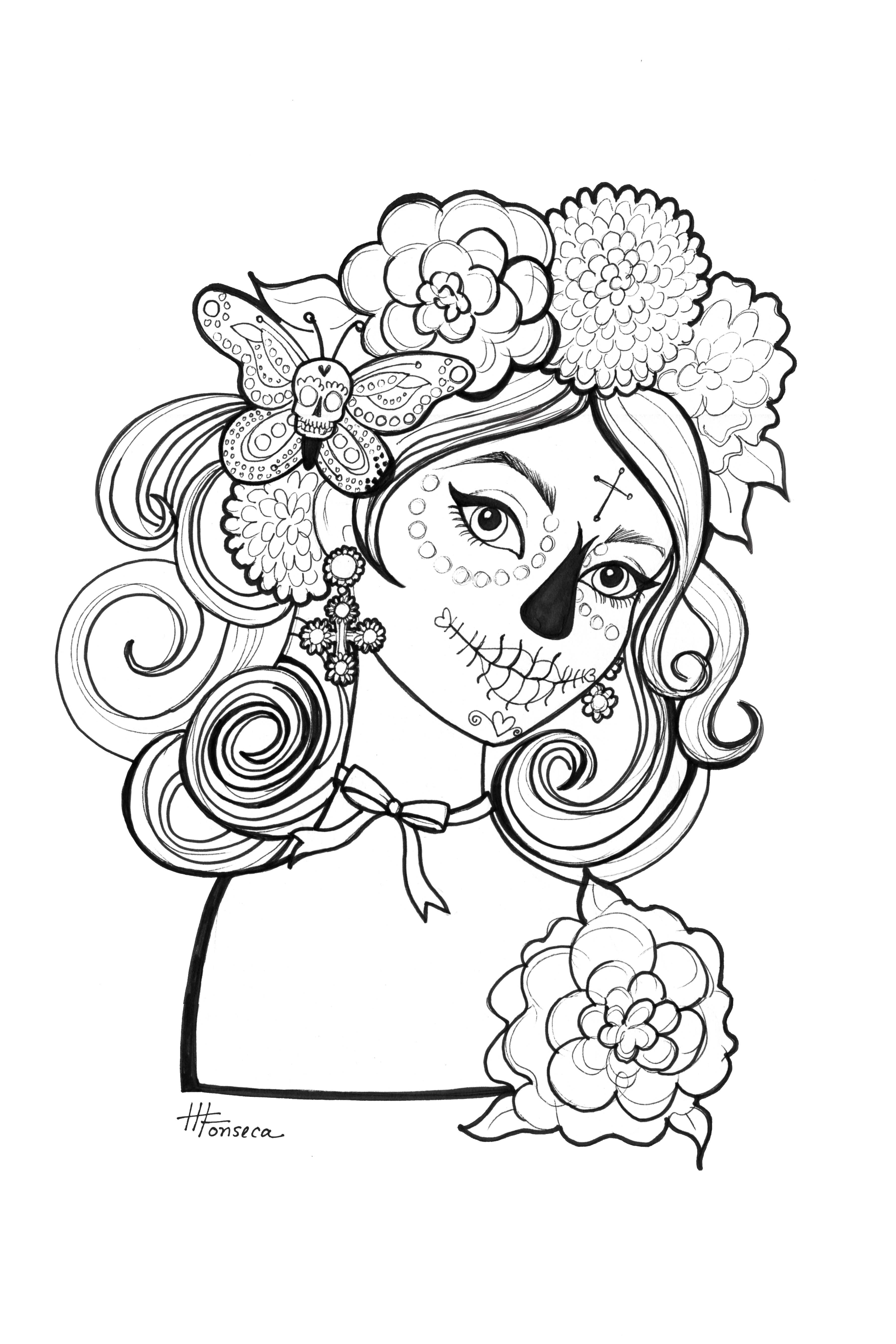 3600x5400 Here Is One Of Three Day Of The Dead Coloring Pages For You