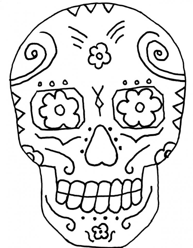 748x960 Simple Design Dia De Los Muertos Coloring Pages Get This Printable