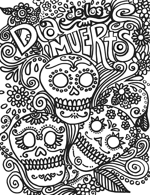 603x785 Day Of The Dead Coloring Pages For Adults Inspirational Dia De Los