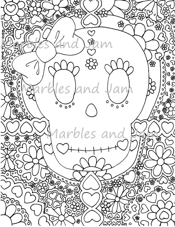 570x738 Day Of The Dead Sugar Skulls Coloring Page, Dia De Los Muertos