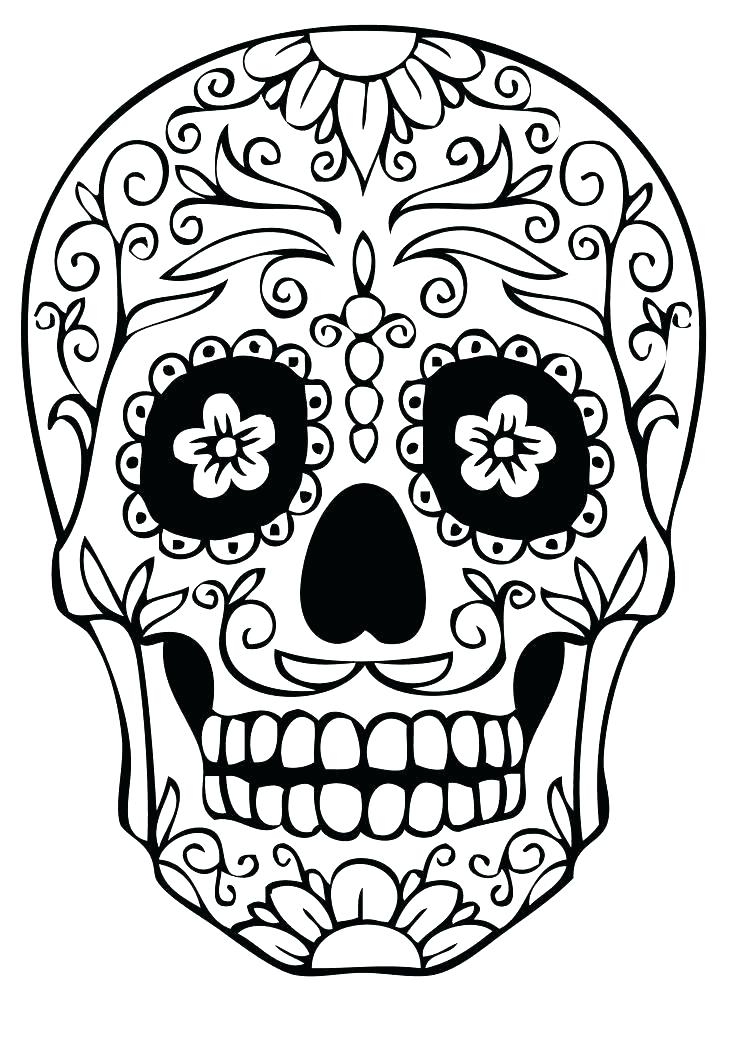 736x1041 Sugar Skull Coloring Pages Together With Day Of The Dead Coloring