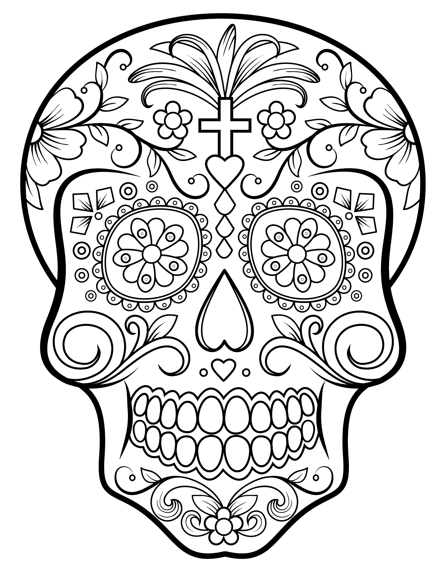 1526x1998 Coloring Pages Abstract Skull