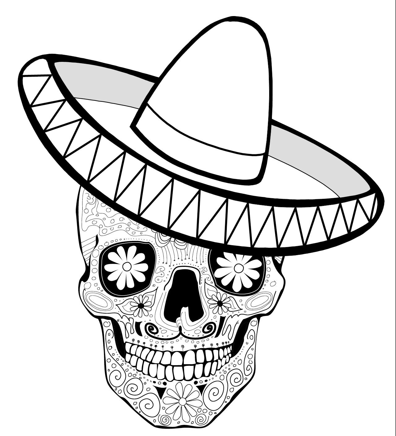 1280x1410 Coloring Page, De Los Muertos, Calaca With Sombrero Dia De