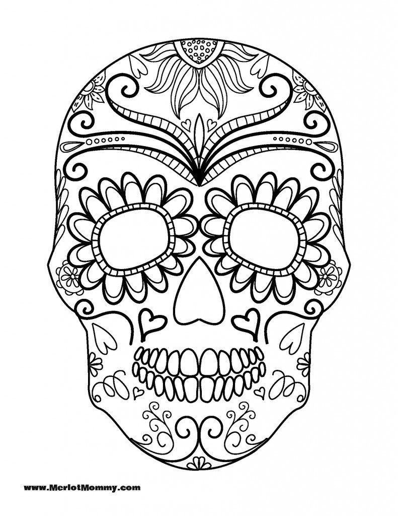 791x1024 Day Of The Dead Sugar Skull Coloring Page Free Printable Inside