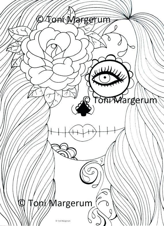 570x785 Dia De Los Muertos Printable Coloring Pages Day Of The Ad Stained