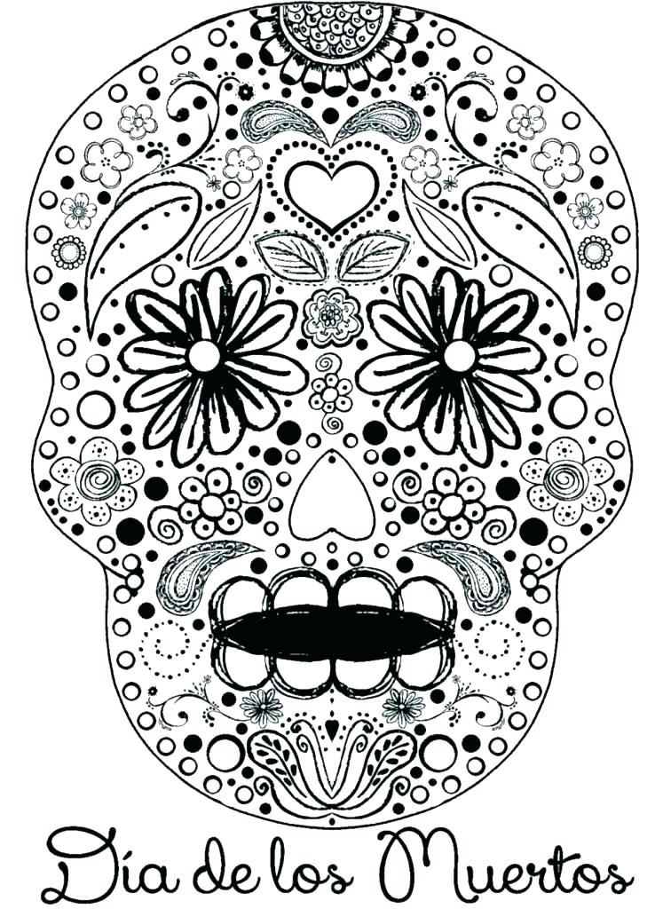 747x1024 Day Of The Dead Coloring Page