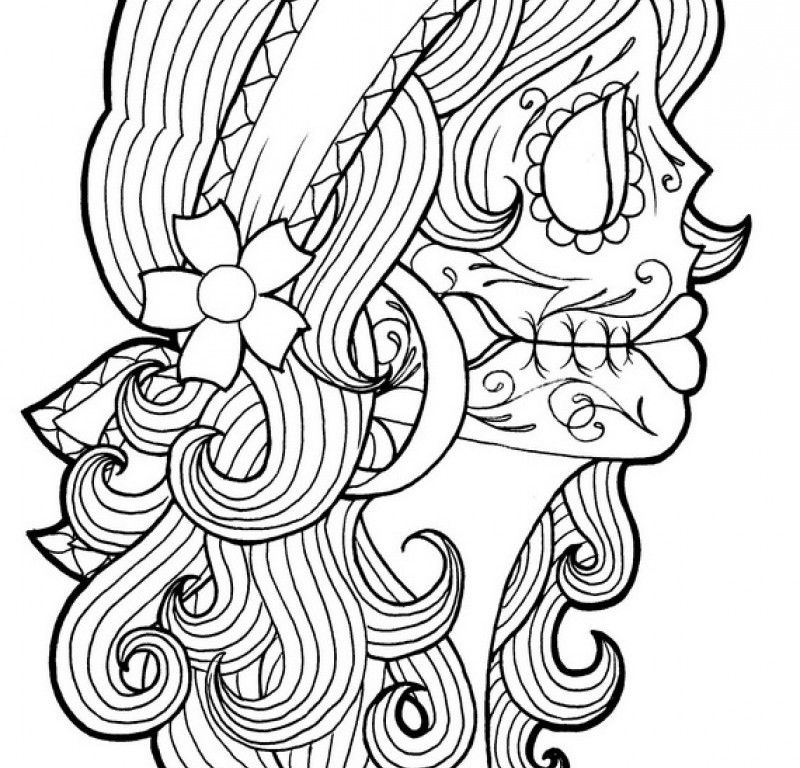 800x768 Day Of The Dead Coloring Page
