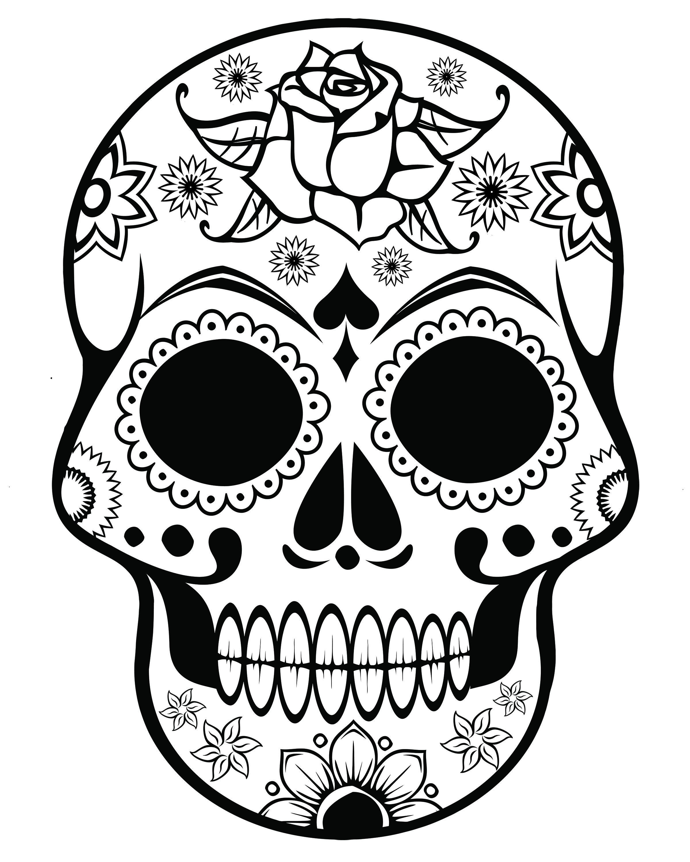 2400x3000 Sugar Skull Coloring Page