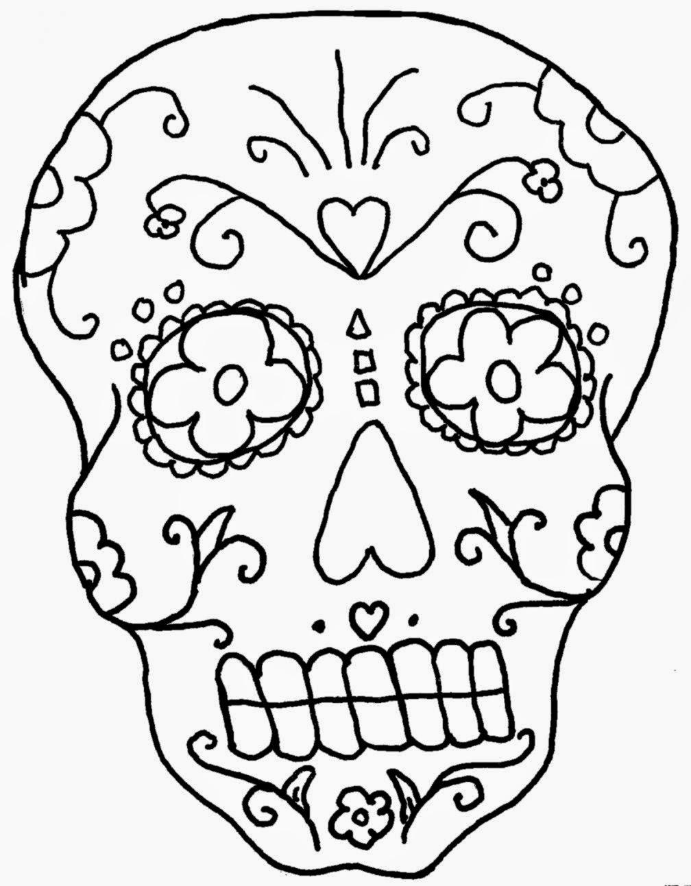 1008x1293 De Los Muertos Skull Coloring Pages
