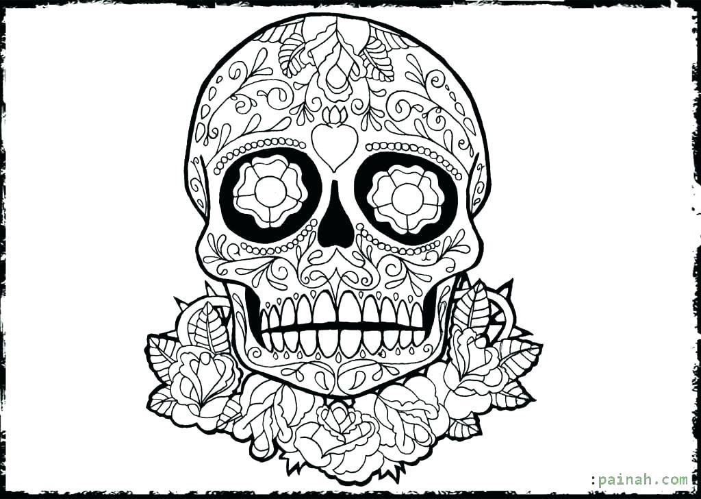 1024x728 Dia De Los Muertos Skull Coloring Pages