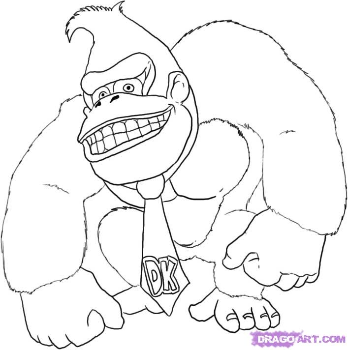 707x712 Donkey Kong Coloring Pages