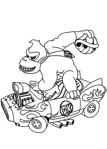 347x480 Donkey Kong Coloring Pages Donkey Kong Drives A Car Coloring Page