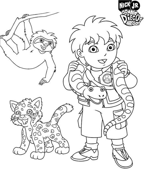 600x776 Diego And Protected Animal In Go Diego Go Coloring Page