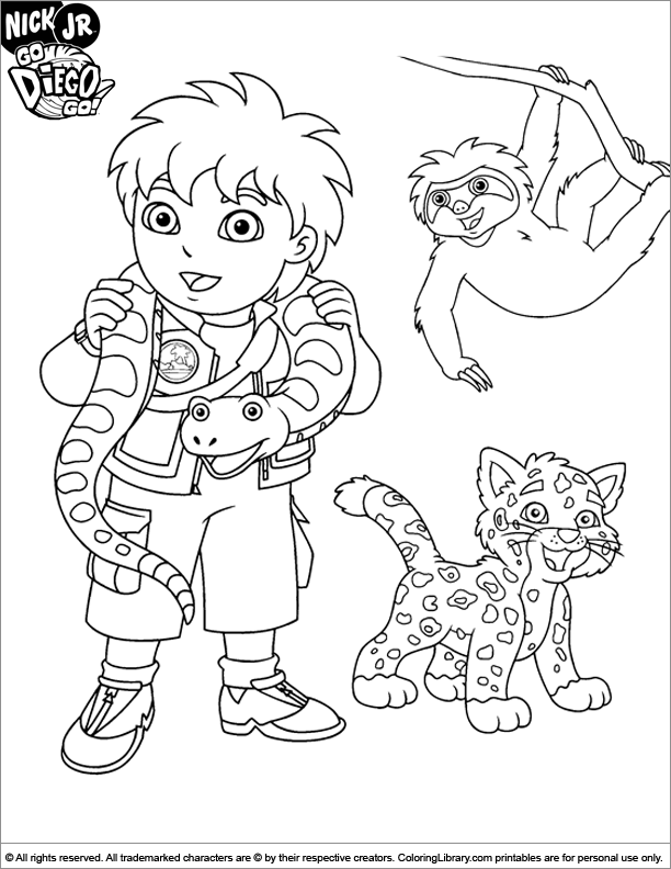 612x792 Go Diego Go Coloring Picture