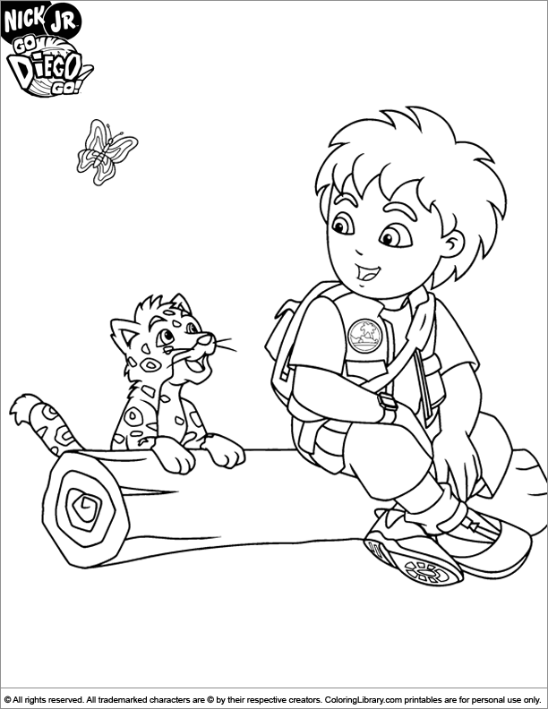 612x792 Go Diego Go Coloring Page Diego Sitting On A Tree Stumb Coloring