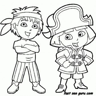 338x338 Printable Dora The Explorer And Diego Dressed As Pirate Coloring