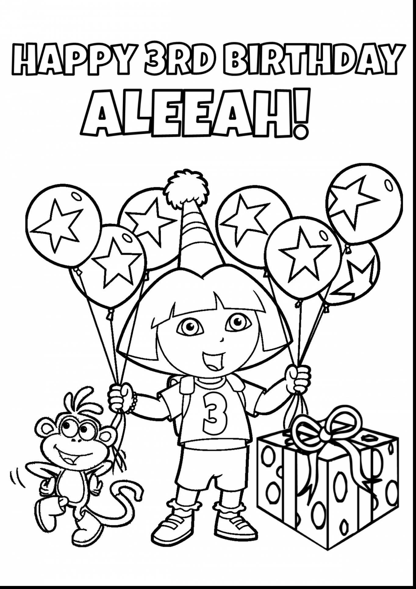 1364x1929 Stunning Spectacular Dora Birthday Printable Coloring Pages