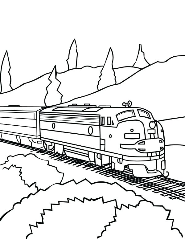 600x776 Diesel Train Coloring Pages Model Train On Railroad Coloring Page
