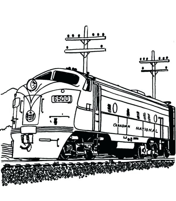 600x686 Coloring Pages Of Trains Railroad Streamlined Diesel Engine Train