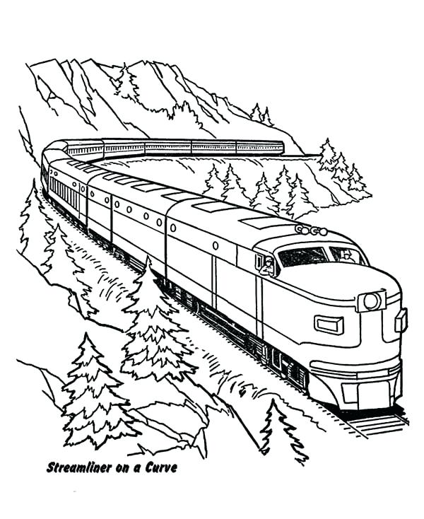 600x734 Trains Coloring Pages Train On A Curve Coloring Page Color Trains