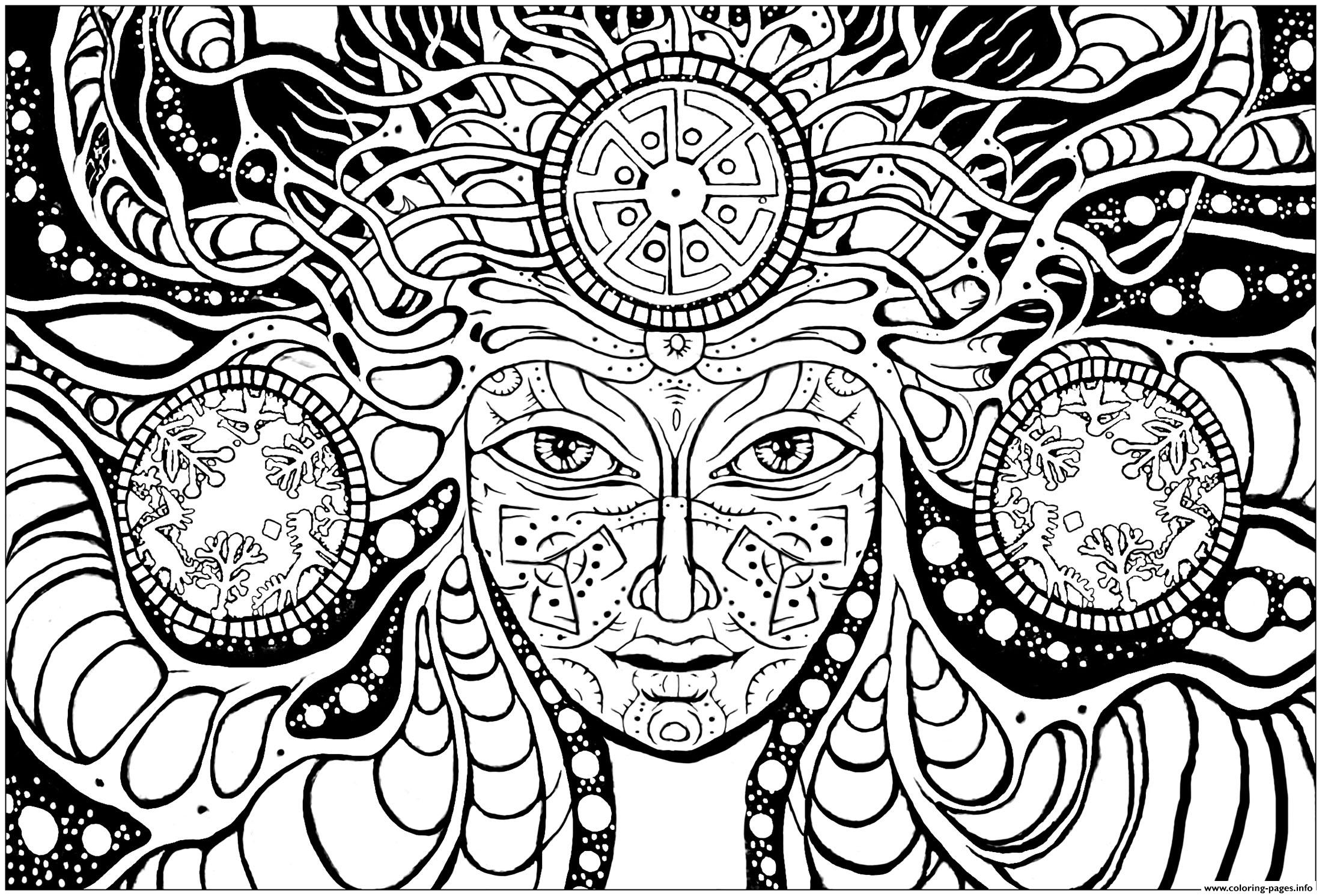 2200x1491 Print Adult Coloring Pages Adult Difficult Psychedelic Femme