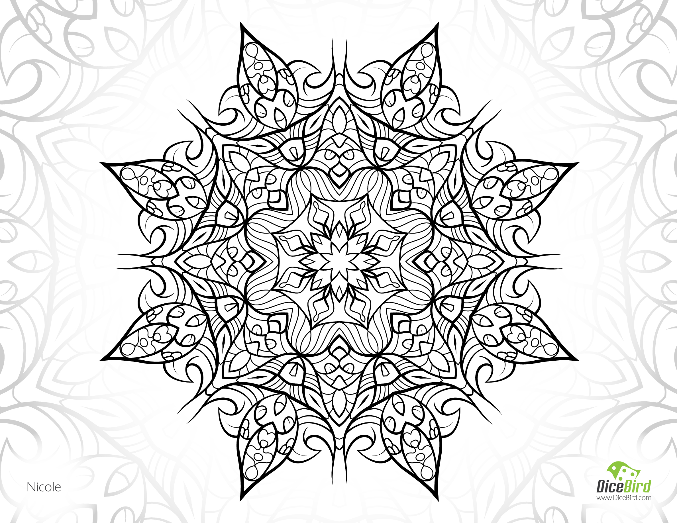 2376x1836 Nicole Flower Free Printable Complex Coloring Pages Printable