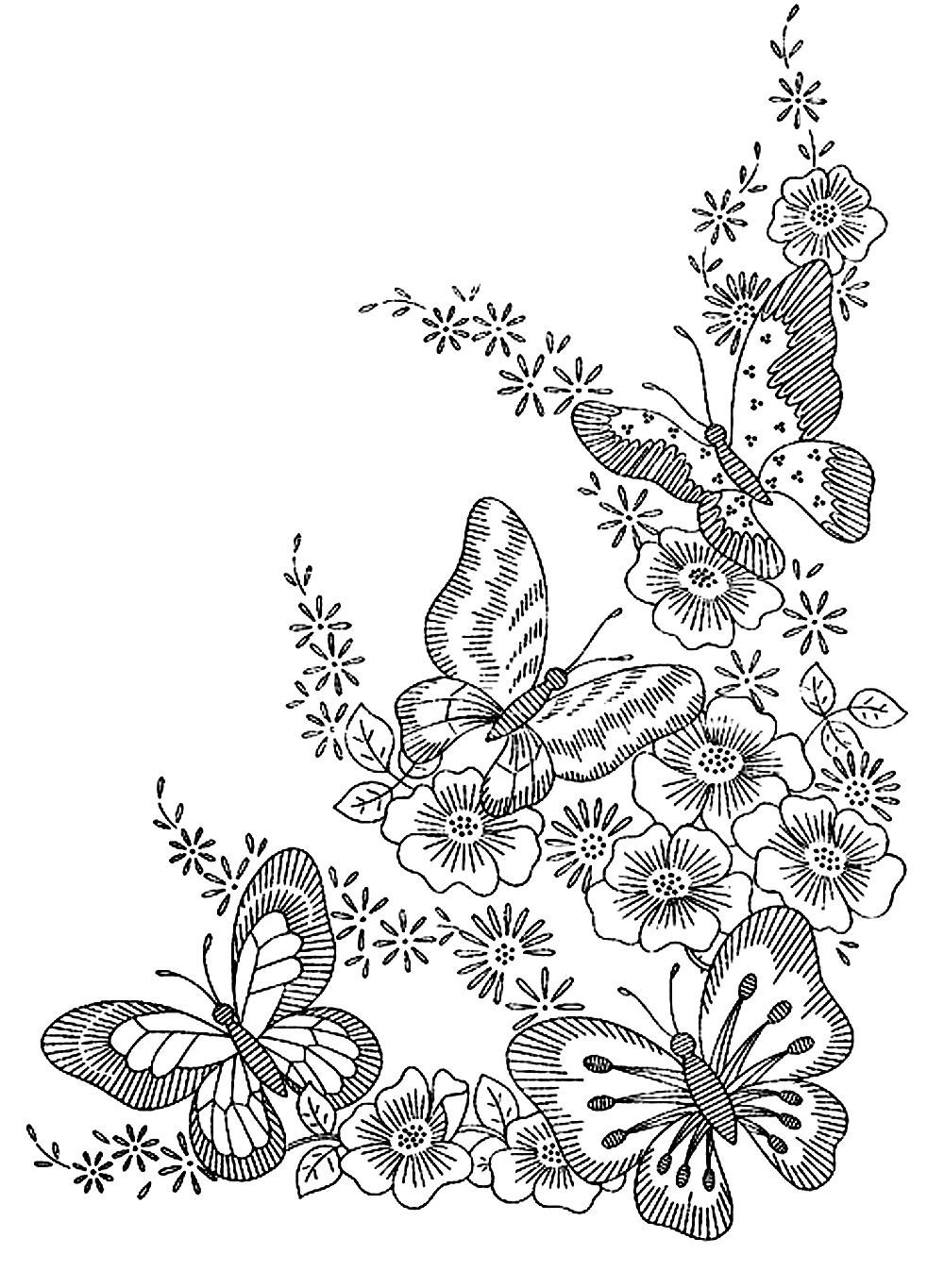 Difficult Flower Coloring Pages