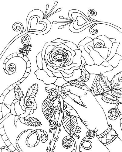 402x500 Malocchio Evil Eye Rose Coloring Page Digital Coloring Book Page