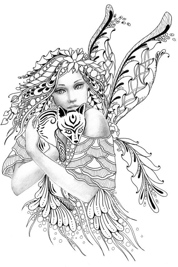 570x855 Foxie Fairy Tangles Printable Coloring Sheets