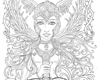 340x270 Male Warrior Angel Coloring Page Instant Download Christian