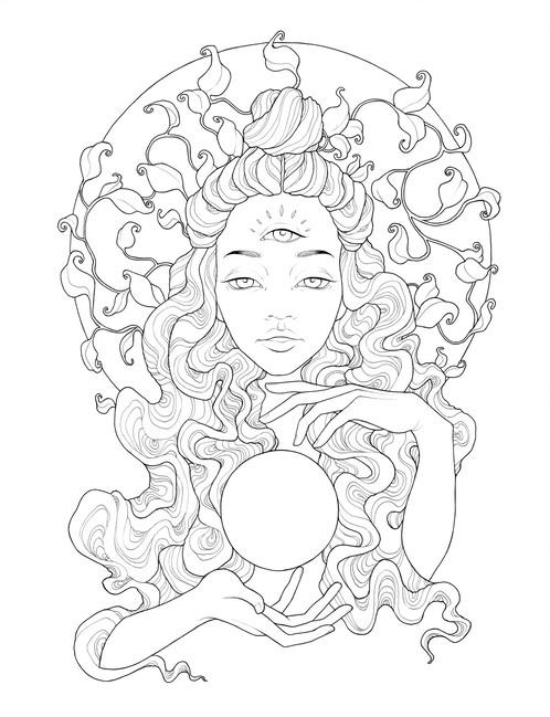 498x649 Trippy Chicks Digital Coloring Pages Artist And Illustrator