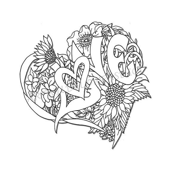 570x570 Wedding Shower Adult Coloring Page Love Heart Digital Wildflower