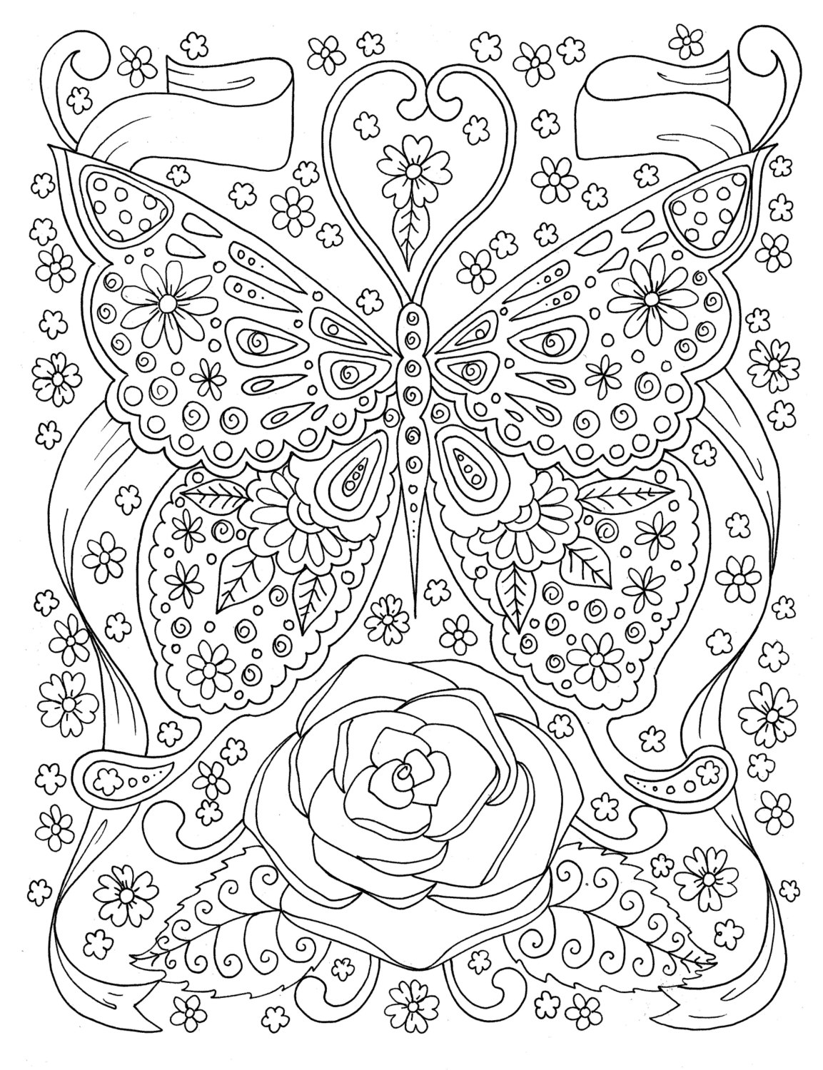1153x1500 Butterfly Coloring Page Adult Coloring Book Digital Coloring Page