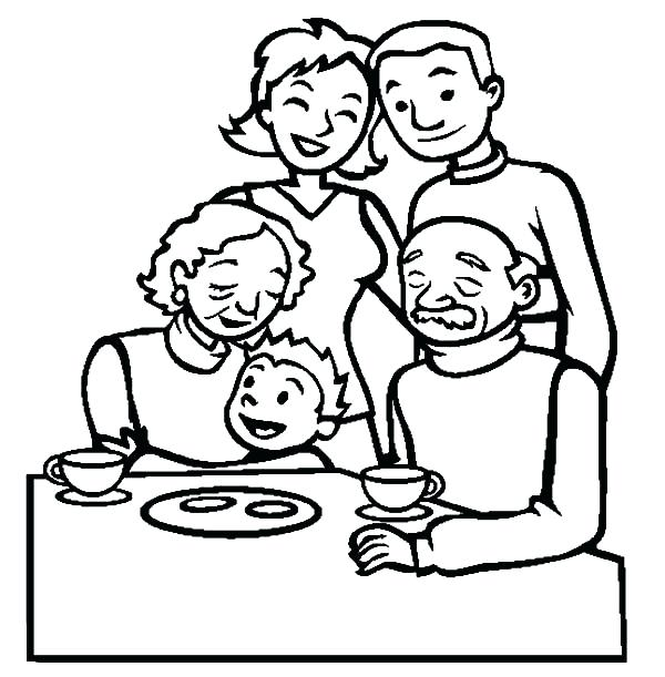 600x611 Family Coloring Page Family Coloring Pages The Family Coloring