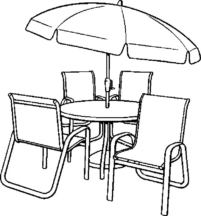 675x726 Table And Chair Coloring Page