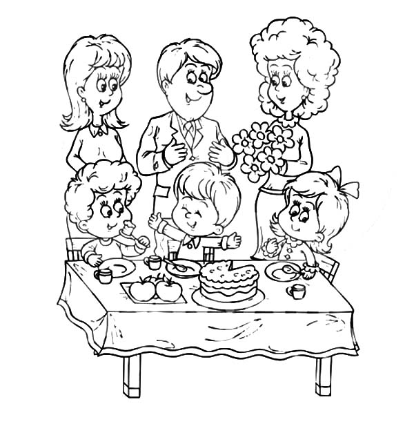 600x627 A Joint Family Celebrating Around A Table Coloring Pages Batch