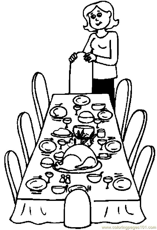 614x900 Dinner Table Coloring Page