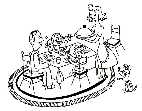 600x470 Family Dinner Coloring Page