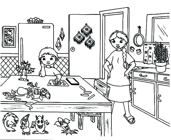 600x490 Kitchen Coloring Page Coloring Page Parts Of A House Kitchen