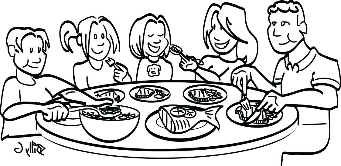 1123x548 Neoteric Design Clipart Dinner Coloring Pages For Adults Royalty