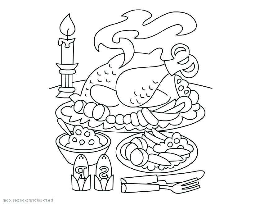 880x660 Turkey Dinner Coloring Page Professional