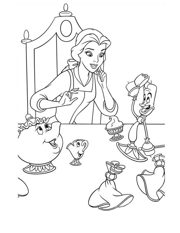 695x900 Belle On Dinner Table Coloring Page Beauty And The Beast Pages