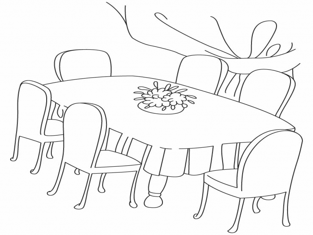 1024x768 Best Dining Room Chairs, Room Scene Coloring Dining Room Table