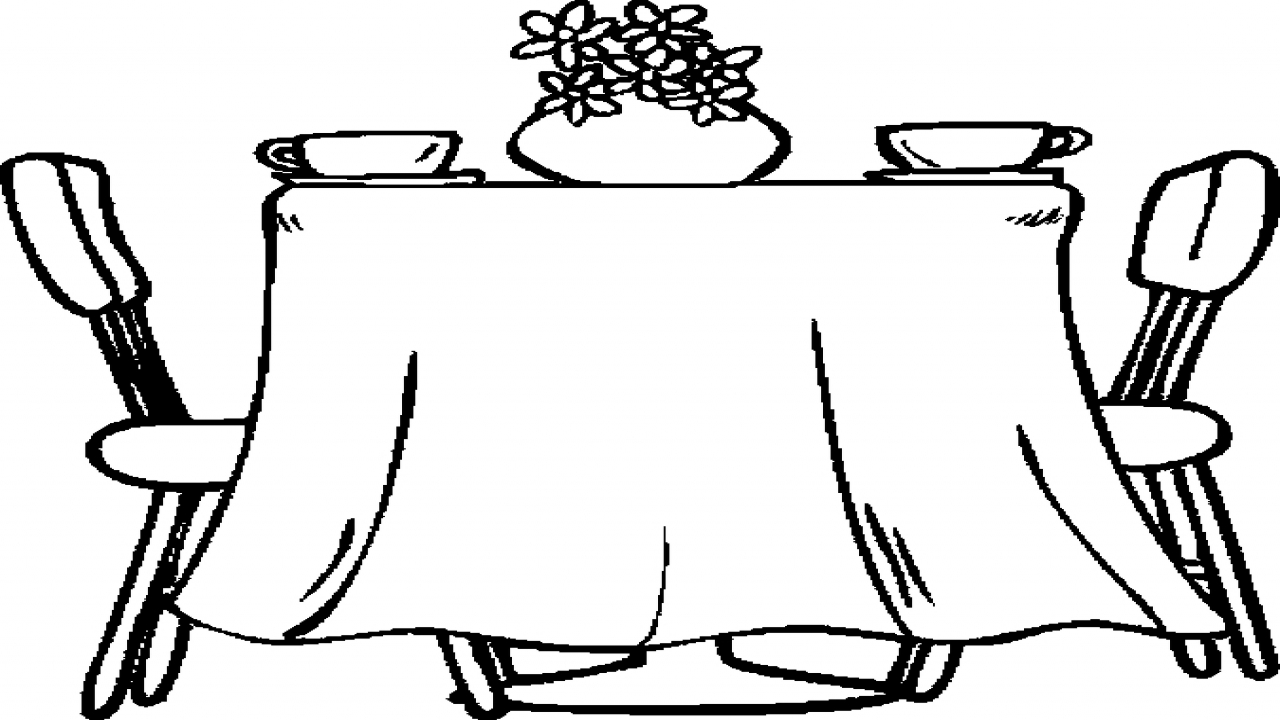 1280x720 Black Dining Table Set, Dining Room Table Coloring Page Simple