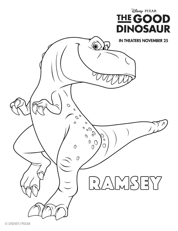 600x776 Disney The Good Dinosaur Free Printable Ramsey Coloring Page