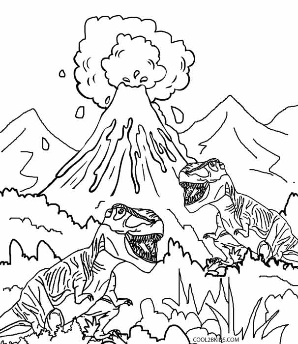 606x700 Printable Volcano Coloring Pages For Kids
