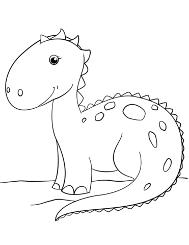 371x480 Simple Dinosaur Coloring Pages Cute Cartoon Dinosaur Coloring Page