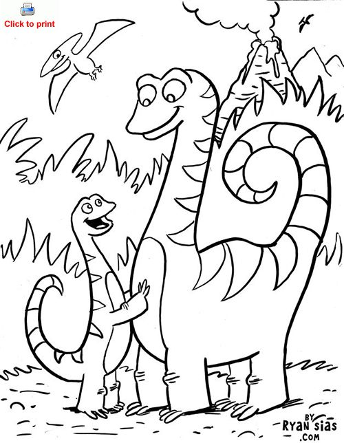 500x644 Cute Dinosaur Coloring Page Printable