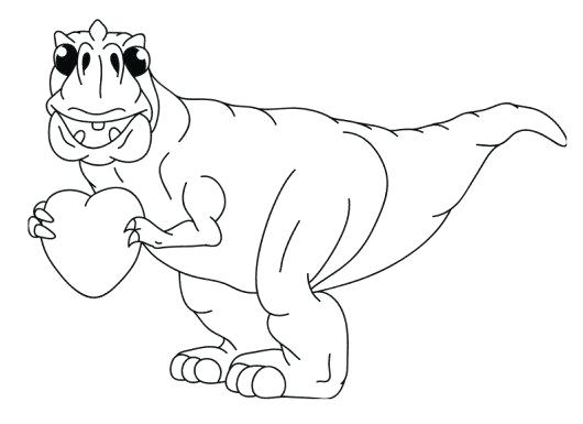 530x385 Heart Coloring Pages Cute T Heart Valentine Dinosaur Coloring