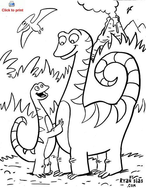 500x644 Cute Dinosaur Coloring Page Printable